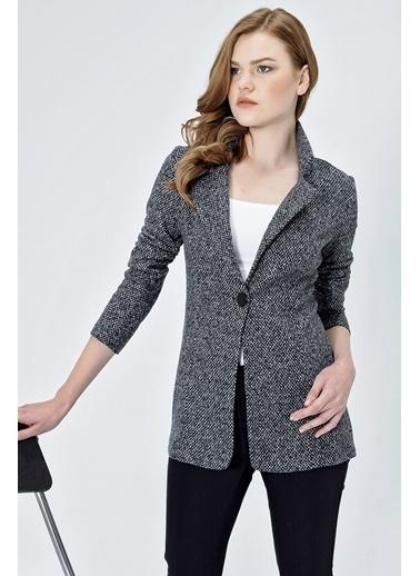 Jument Kadın Desenli Uzun Kol Tek Düğme Kaşe Kışlık Ceket-Siyah Kareli Antrasit